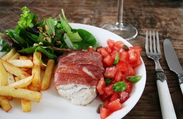 Kabeljauw met pancetta en friet